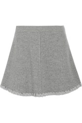 See By Chloe Crepe De Chine Trimmed Herringbone Wool Blend Mini Skirt Gray