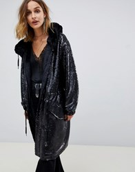 Native Rose Longline Parka In All Over Sequins Black