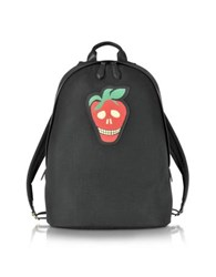 Paul Smith Men's Black Canvas Backpack W Strawberry Skull Leather Patch