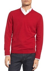 Nordstrom Cashmere V Neck Sweater Regular And Tall Red
