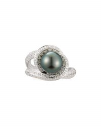 Belpearl 14K Swirling Tahitian Pearl And Diamond Ring Size 7.5