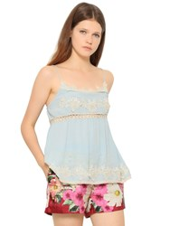 Blugirl Viscose Crepe And Lace Top