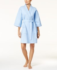 Charter Club Waffle Textured Wrap Robe Only At Macy's Serenity Blue