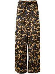 Christian Wijnants Floral Palazzo Pants Women Cupro Viscose 36 Yellow Orange