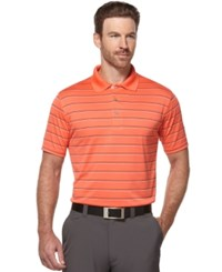 Pga Tour Men's Airflux Striped Golf Polo Hot Coral