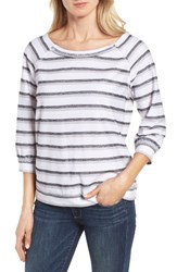 Caslonr Women's Caslon Back Button Pullover White Grey Triple Stripe