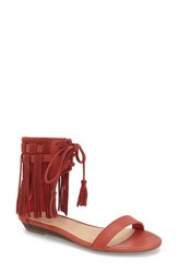 Women's Very Volatile 'Aubrey' Fringe Lace Up Sandal Red Faux Leather