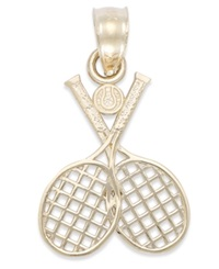 Macy's Double Tennis Racquet Charm In 14K Gold Yellow Gold