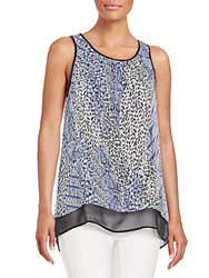 Daniel Rainn Chiffon Hem Animal Print Tank Blue