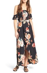 Band Of Gypsies Women's Floral Print Maxi Dress Black Coral