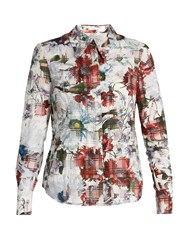 Erdem Sloane Floral Print Cotton Blend Seersucker Shirt White Print