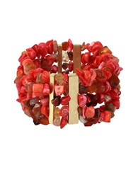 Kenneth Cole Coral Canyon Coral Chip Bead Multi Row Stretch Bracelet Red