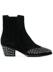 Ash Studded Ankle Boots Black