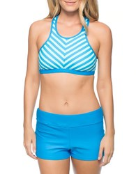 Next Barre To Beach Cutout Sport Bikini Top Blue