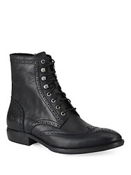 Andrew Marc New York Hillcrest Leather Brogue Wingtip Ankle Boots Black