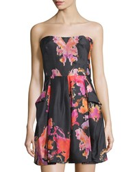 See By Chloe Strapless Watercolor Print Silk Dress Women's