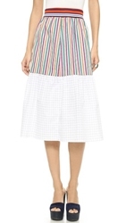 Clover Canyon Cotton Solids Striped Skirt Multi