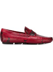 Roberto Cavalli Snakeskin Loafers Red