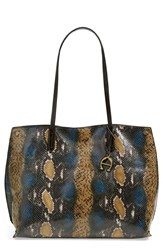 Etienne Aigner 'Penn' Leather Tote Peacock Multi Snake