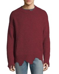 Ovadia And Sons Oversize Distressed Crewneck Sweater Red