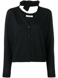 Dorothee Schumacher Knit V Neck Cardigan With Bow Detail Blue