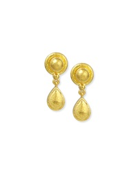 19K Gold Dome And Pear Drop Earrings Elizabeth Locke