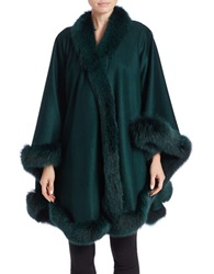 Sofia Cashmere Cashmere And Fox Fur Cape Holly Green