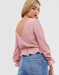 Boohoo Exclusive V Front And Back Blouse With Frill Detail In Pink Red