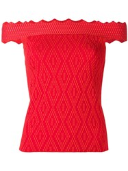 Jonathan Simkhai Off Shoulders Fitted Blouse Red