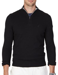 Nautica Big And Tall Quarter Zip Long Sleeve Cotton Blend Sweater True Black
