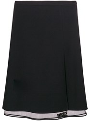 Versace Midi Layered Skirt Silk Acetate Viscose Black