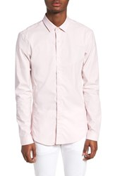 Topman Muscle Fit Textured Shirt Pink