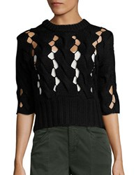 Dkny Cutout Crewneck Merino Wool Sweater Black
