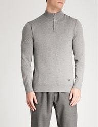 Emporio Armani Zipped Knitted Jumper Grey