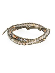 Chan Luu Abalone Labradorite Crystal And Leather Beaded Double Wrap Bracelet