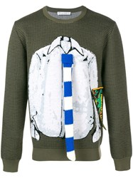 J.W.Anderson Jw Anderson Trompe L'oeil Shirt And Tie Sweater Green