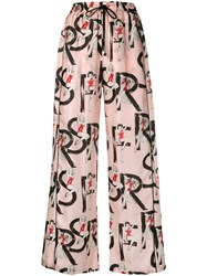 F.R.S For Restless Sleepers Logo Palazzo Trousers Pink