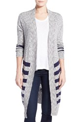 Petite Women's Caslon Stripe Long Cardigan Navy Ivory Stripe