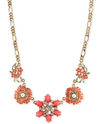 2028 Gold Tone Colorful Stone And Crystal Accent Floral Collar Necklace