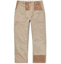 Engineered Garments Cropped Patchwork Cotton Ripstop Twill And Corduroy Drawstring Trousers Beige