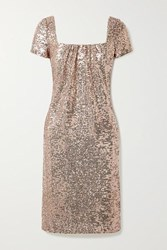 Reem Acra Sequined Tulle Dress Rose Gold