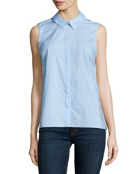 Opening Ceremony Eva Sleeveless Button Front Top Mist Blue Women's