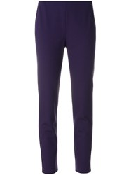 Les Copains Tapered Cropped Trousers Elastodiene Polyamide Viscose Pink Purple
