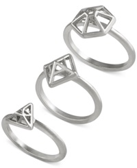 French Connection Gold Tone Mini Geometric Set Of 3 Rings Silver