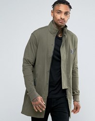 Religion Jersey Parka With Panel Sleeves And Fishtail Khaki Green