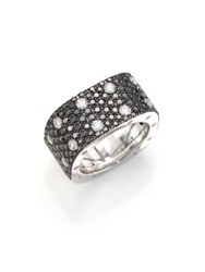 Roberto Coin Pois Moi Black White Diamond And 18K White Gold Ring