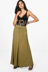 Boohoo Button Front Jersey Maxi Skirt Olive