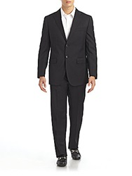 Saks Fifth Avenue Black Classic Fit Wool Suit Black