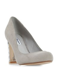 Dune Bindy Diamante Suede Court Shoes Grey