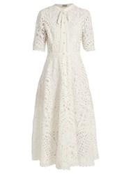 Temperley London Berry Lace Tie Neck Dress White